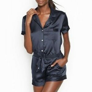 VS Satin Button-Front Tie Waist Navy Romper